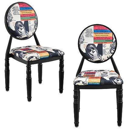 [en.casa]® Set de 2 sillas de diseño patchwork sillas de diseño (de colores / negras) retro butacas