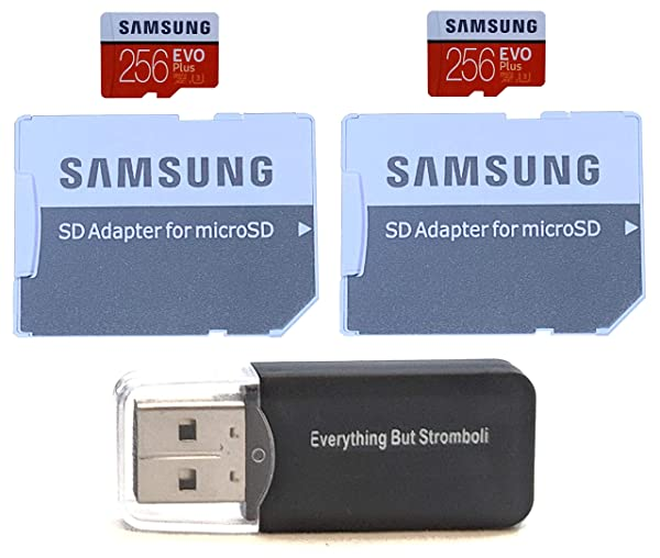Samsung Evo Plus 256GB MicroSD Memory Card (2 Pack) Works with GoPro Hero 8 Black (Hero8), Max 360 UHS-I, U1, Speed Class 10, SDXC (MB-MC256G) with (1) Everything But Stromboli (TM) Micro Card Reader (Color: Class 10 256GB)