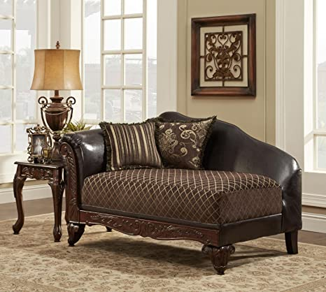 Chelsea Home Furniture Amelia Chaise, Sienna Brown/Bi-Cast Brown