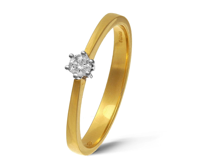 Atemberaubender 9 Karat (375) Gold Solitär Verlobung Damen - Diamant Ring Brillant-Schliff 0.12 Karat JK-I3
