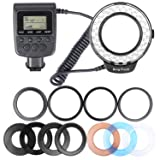 Hakutatz RF-550D 48 LEDS Macro LED Ring Flash Light Bundle Macro Photography with LCD Display Power Control, Adapter Rings and Flash Diffusers for Can