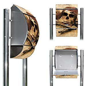 Edelstahl Standbriefkasten mit Fuß und Motiv Pirat   Kundenbewertung und weitere Informationen