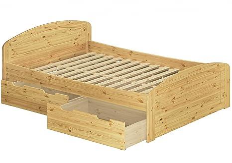 Funktionsbett Doppelbett 3 Bettkasten Rollrost 160x200 Seniorenbett Massivholz Kiefer 60.50-16