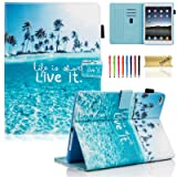 iPad 9.7 inch 2018 2017 Case/iPad Air Case/iPad Air 2 Case, Dteck PU Leather Folio Smart Cover with Auto Sleep Wake Stand Wallet Case for Apple iPad 6th / 5th Gen,iPad Air 1/2, Beach Live it (Color: 001 Beach Live it, Tamaño: 9.7 Inch)