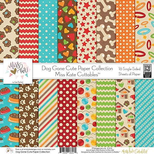 Pattern Paper Pack - Dog Gone Cute - Scrapbook Premium Specialty Paper Single-Sided 12x12 Collection Includes 16 Sheets - by Miss Kate Cuttables (Tamaño: Pattern Paper Pack)