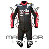 Aprilia One Piece Motorbike Racing Leather Suit (XXL) (Color: Red, Black, Tamaño: XX-Large)