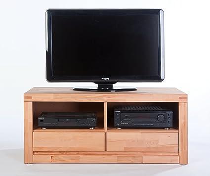 Sylt 1927 - Mueble bajo para TV (madera maciza de haya al aceite, 2 cajones)
