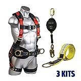 Guardian Combo Kit 11171 XL-XXL Harness w/ 20ft Web Retractable and 3-Foot Premiun Cross-Arm Strap (3 Combos) (Tamaño: Kit (XL-XXL))