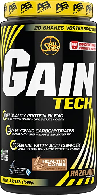 All Stars Gain Tech Weight Gainer, Haselnuss, 1er Pack (1 x 1.5 kg)