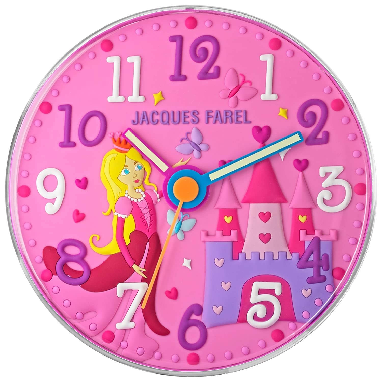 JACQUES FAREL WAL11 Wanduhr Prinzessin Uhr Mädchen Kinderuhr Kunststoff Analog rosa jetzt bestellen