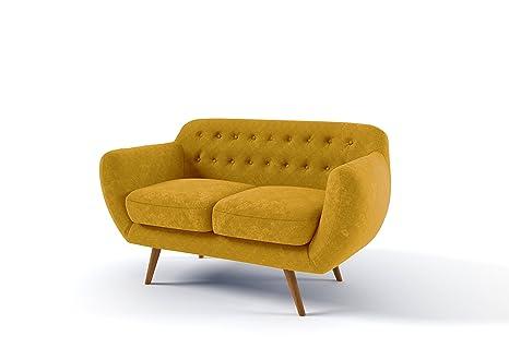 MIKITOO design Goni Canapé de 2 Places Fixé, Tissu, Moutarde, 142 x 84 x 84 cm