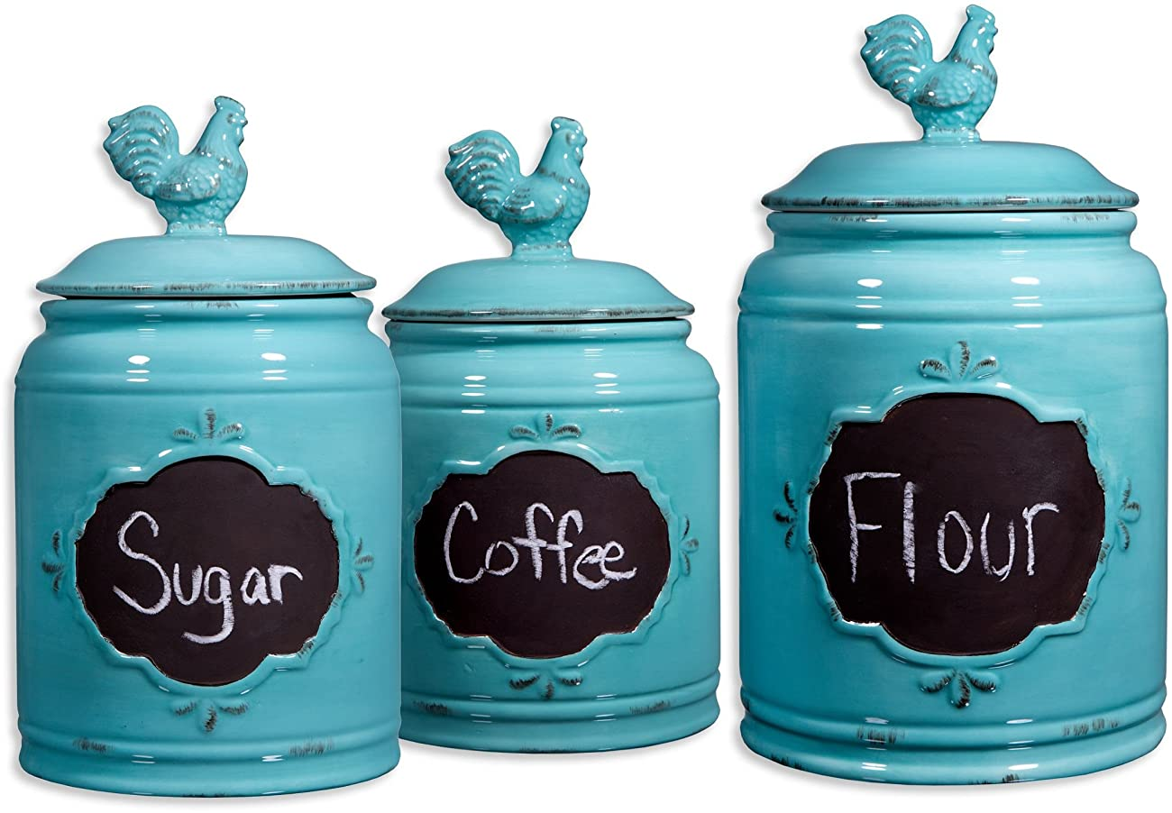 Set of 3 Durable Blue Chalkboard Rooster Canister Set with Tight Lids for Kitchen or Bathroom, Food Storage Containers, Ceramic,Aqua, 0