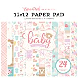 Echo Park Paper Company Hello Baby Girl 12x12 Pad Paper Pink, Teal, Yellow, Purple, Orange (Color: Pink, Teal, Yellow, Purple, Orange, Tamaño: 12-x-12-Inch)