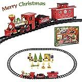 FULiYEAR Christmas Toy Train Set, Battery Powered Train Set Steam Smoking Simulation Music Train for Kids (Color: Christmas Train Set)