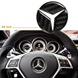 1 set 44mm Steering Wheel Center Cover Trim Logo 3D Carbon Fiber Emblem Sticker for Mercedes Benz B C GLK W117 X156