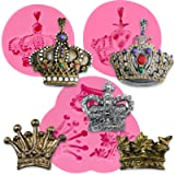 Funshowcase Royal Crown Fondant Candy Silicone Mold for Sugarcraft, Cake Decoration, Cupcake Topper, Chocolate, Pastry, Cookie Decor, Jewelry, Clay, Epoxy Resin, Crafting Projects 3 Molds in Set (Color: 1285 1286 1288 Crown Molds 3-count)