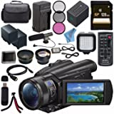 Sony FDR-AX700 4K Camcorder FDR-AX700/B + NP-FV70 Replacement Lithium Ion Battery + External Rapid Charger + 128GB SDXC Card + 62mm 3 Piece Filter Kit + LED Light + Condenser Mic Bundle (Tamaño: Professional)