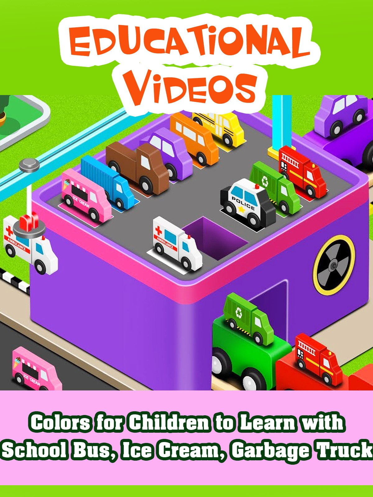 Colors for Children to Learn with School Bus, Ice Cream, Garbage Truck