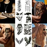 Playmax Temporary Tattoo Stickers 8 Sheets for Boys Teens Guys Men Models, Long Lasting Rocker Tattoo Waterproof Disposable Stickers Cool Evil Design Wolf Eagle Crow Skull Sword Winds Words (Color: Black-B, Tamaño: 2.5x148x210mm)