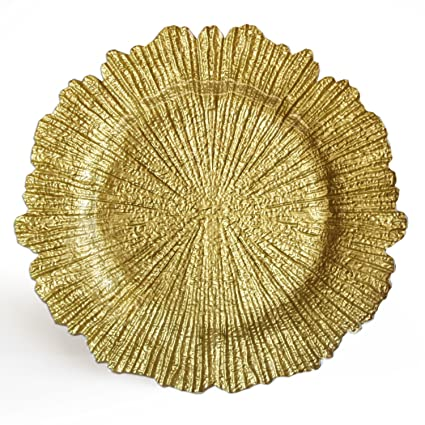 Gold Glass Reef Charger Plate by Charge It by Jay
