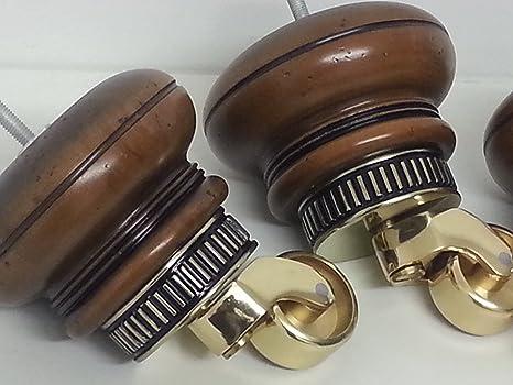 4 x en la parte superior del clubking Ltd de acero para muebles/pies de latón ruedas, aspecto envejecido sillas, sofás, M8 (8 mm)