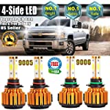 4Pcs 9005 9006 LED Headlight Bulbs Pure White 6000K High/Low Beam Combo Set for Chevrolet Silverado 1500/GMC/Chevy Tahoe/Dodge/Chrysler/Ford - 40000LM - 4 COB Chip