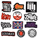 Riao-Tech 12 pc. Rock Punk Band Patch Set Iron on Sew on Patches, My Chemical Romance, Iron Maiden, Black Flag, Pink Floyd The Wall, Red Hot Chili Peppers, Korn, White Zombie (Color: colorful)