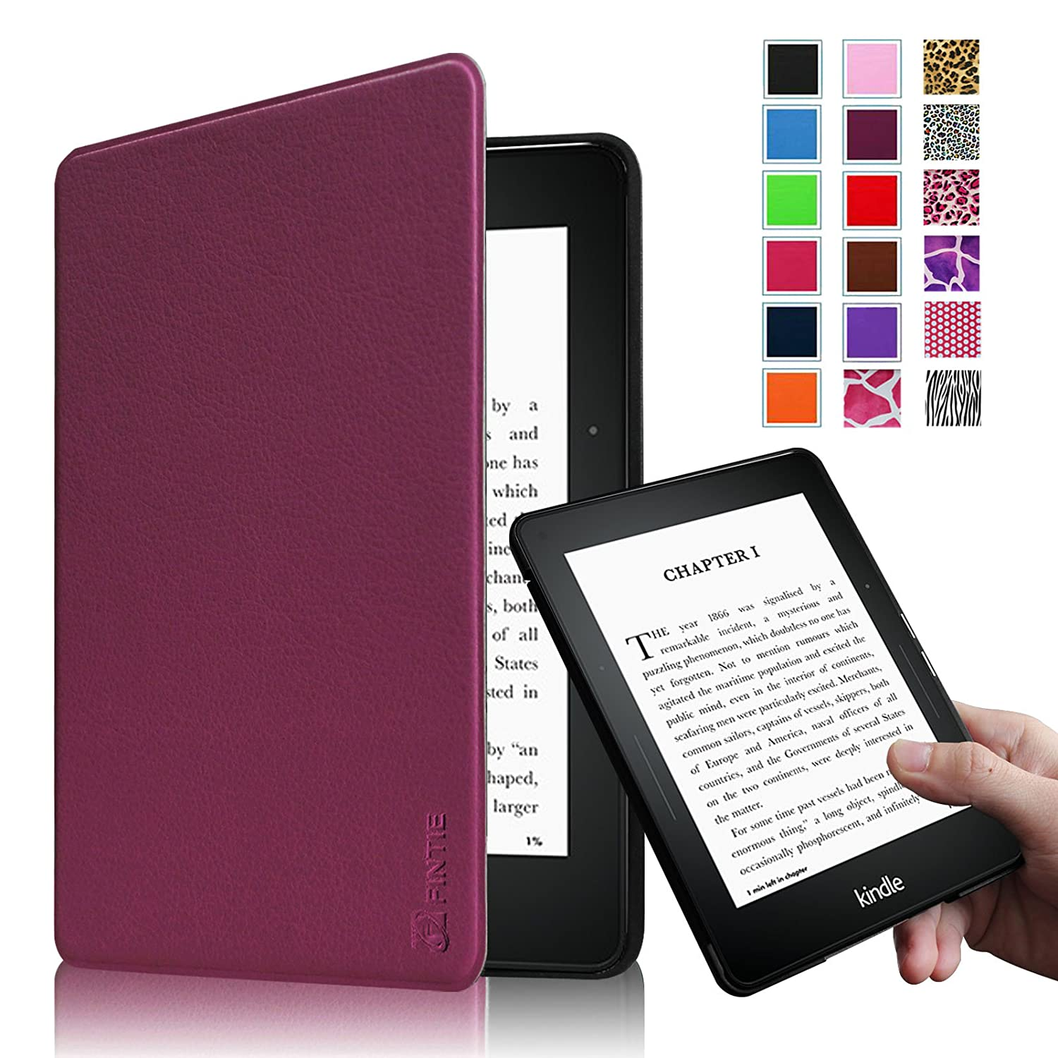 flintie protective leather cover for kindle voyage