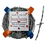 50 Feet - Real Barbed Wire - 15 Gauge 2 PT - for Crafts and Yard - Made in USA (Tamaño: 50 Feet)