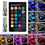 Car Reading Lights,Auto Parts Club 5050 RGBW LED Car Interior Reading Lights / Car Fog Lights,Super Bright 16-Color Changing Width Lamp Wedge Side Light with Wireless Remote Control (Color: Colorful)