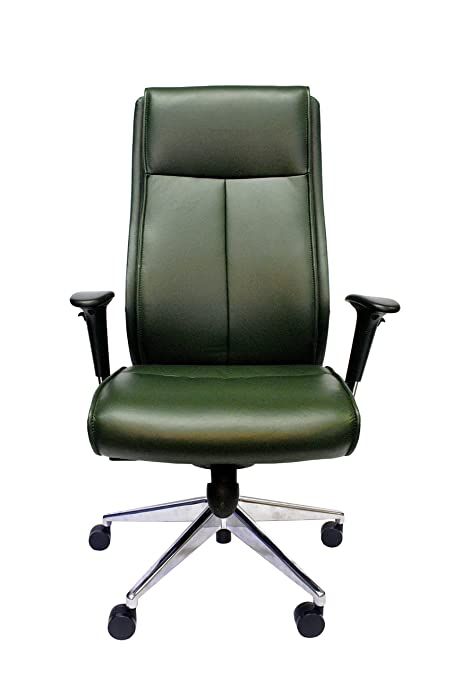 Century Office Lithos Ergonomic SwivelHeight Adjustable Executive Chair, Leather, Green