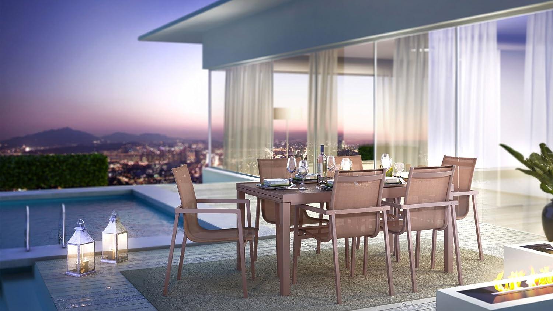 iCASA Aluminium Gartenmöbel Esstisch ausziehbar + 6x Stühle Catania in Taupe günstig kaufen