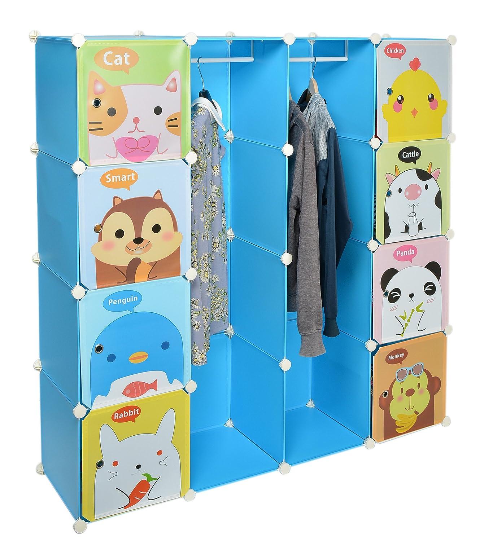 Kinder Kleiderschrank Garderoben Flur Schrank Badschrank Hoch Regal in Blau mit süßen Motiven jetzt kaufen