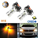 (2) Gold Yellow 100W High Power CREE H15 LED Bulbs For VW Audi BMW Mercedes DRL Lamps