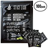 100 Pairs Set Premium Under Eye Gel Pads for Eyelash Extension - Lint Free Patches with Vitamin C and Aloe Vera by Stacy Lash supplies and Beauty tools - Hydrogel Eye Pads - Skin Moisturizes (Color: White)