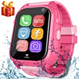 Kids Smart Watch Phone with GPS Tracker Pedometer SOS Camera Sport Fitness Tracker for Boys Girls Digital Wrist Watch Bracelet Wristband Alarm Clock Waterproof IP67 for Holiday Birthday Gifts (Pink) (Color: 03 Pink with Pedometer)