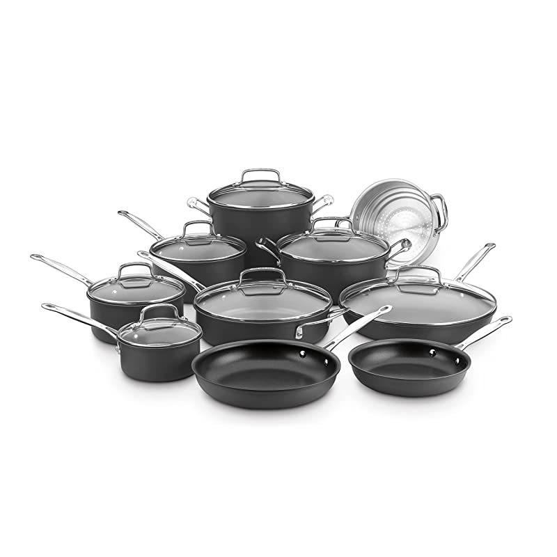 Cuisinart Chef's Classic Non-Stick Hard Anodized, 17 Piece Set, Black, 66-17N via Amazon