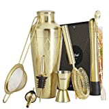 VonShef 9pc Gold Parisian Cocktail Shaker Bartender Set with Gift Box, Recipe Guide, Muddler, Jigger, Cocktail Strainers, Bar Spoon and Bottle Pourers (Color: Etched Gold)