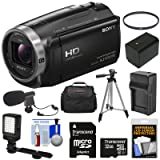 Sony Handycam HDR-CX675 32GB Wi-Fi HD Video Camera Camcorder with 32GB Card + Battery & Charger + Case + Tripod + LED Light + Microphone + Kit