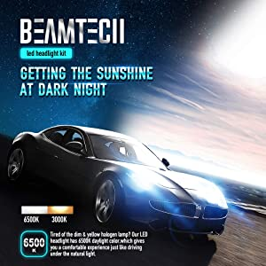 BEAMTECH 9005 LED Headlight Bulbs,30mm Heatsink Base CSP Chips 10000 Lumens HB3 6500K Xenon White Extremely Super Bright Conversion Kit of 2