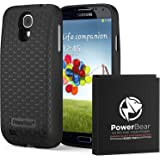 PowerBear Samsung Galaxy S4 Extended Battery [6000mAh] & Back Cover & Protective Case (Up to 2.3X Extra Battery Power) - Black [24 Month Warranty & Screen Protector Included] (Color: Black)