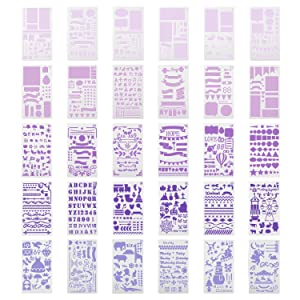 TEOYALL 42 Pcs Journal Planner Stencils Plastic Stencils with 12 Color Fineliner Pens DIY Stencils Set for Notebook Diary (Color: Stencils+Pens)
