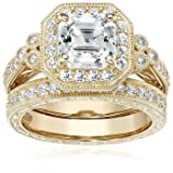 Yellow-Gold-Plated Sterling Silver Antique Ring set with Asscher-Cut Swarovski Zirconia, Size 9