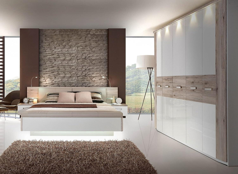 Schlafzimmer mit Bett 180 x 200 cm Sandeiche/ weiss hochglanz kaufen