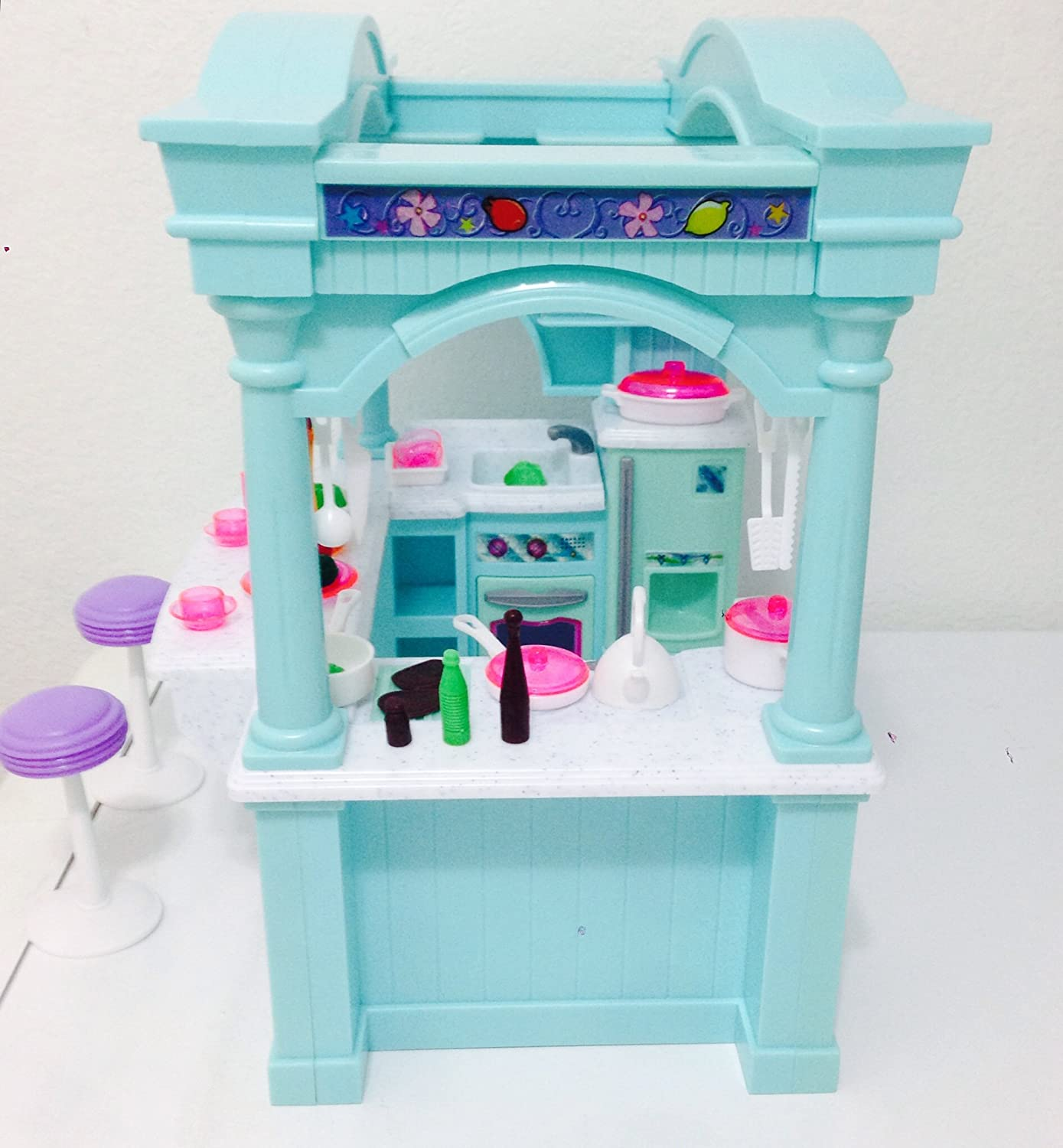 Dollhouse doll furniture barbie size room playset toy for Doll kitchen set