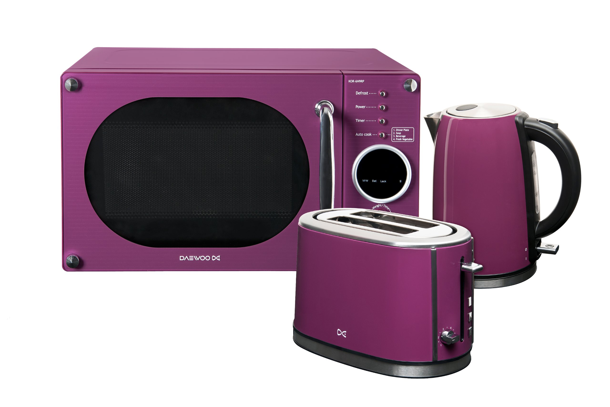 Daewoo microwave toaster and kettle package purple purple for Kitchen set kettle toaster microwave