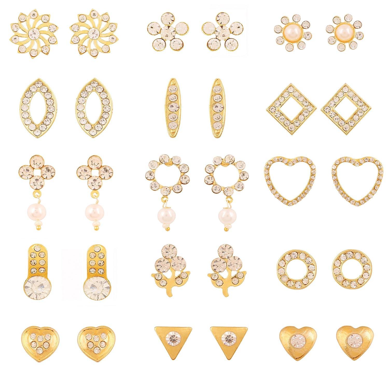 Touchstone Gold Platedbo Of 15 Pair Stud Earrings For Women