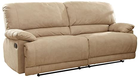 Homelegance Elsie Double Reclining Sofa In Camel Polyester