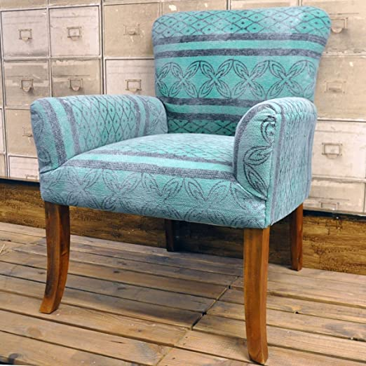 Hand Woven Traditional Kilim Blue Geometric Stonewashed Chair Arm chair
