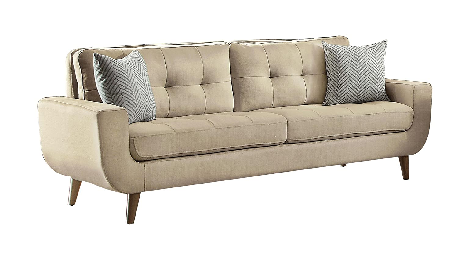 Homelegance Deryn Mid-Century Modern Sofa with Tufted Back and Two Herringbone Throw Pillows - Beige
